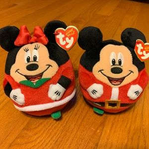 NWT Beanie Ballz Disney Mickey Minnie Mouse Toy 5""